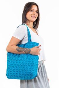 Sac tote bag coton turquoise imprimé squares Picah