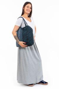 Sac tote bag coton imprimé bleu babachic Lylou