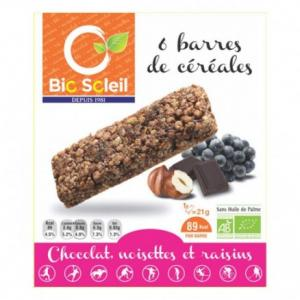 Barre chocolat noisette raisin bio