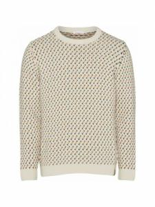 Jacquard O-Neck Knit - Winter White - Knowledge cotton apparel