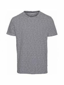 Alder Narrow Striped tee - Total eclipse - Knowledge Cotton Apparel