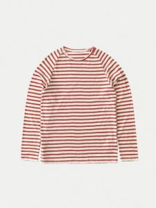 T-shirt Otto Breton - Stripe Egg white/Dusty red - Nudie Jeans