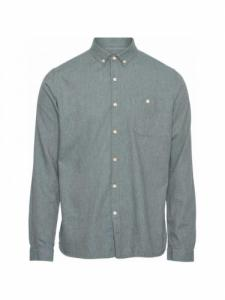 Chemise Elder Regular Fit Melange Flannel - Green Forrest - Knowledge cotton apparel