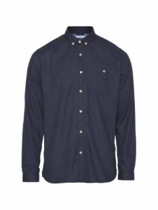Chemise Elder Regular Fit Melange Flannel - Estate Blue - Knowledge cotton apparel