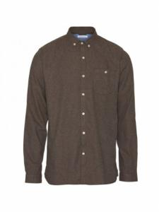 Chemise Elder Regular Fit Melange Flannel - Dark Earth - Knowledge cotton apparel