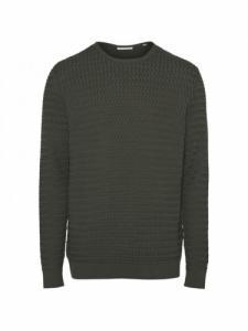Field o-neck Strcutured Knit - Forrest Night - Knowledge cotton apparel