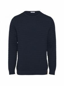 Field o-neck Strcutured Knit - Total Eclipse - Knowledge cotton apparel