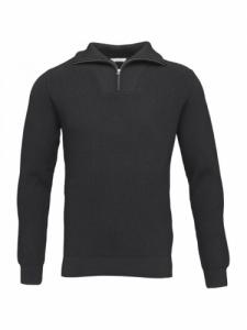 Cardigan Valley Neck Zip - Dark Grey Melange- Knowledge Cotton Apparel