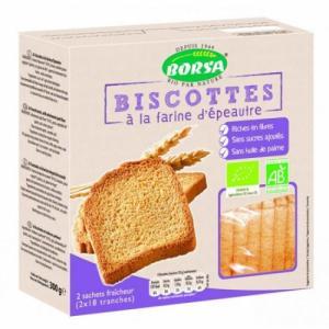 Biscotte farine 100% épeautre sans sucres bio