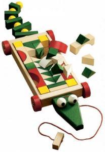 Charrette  Crocodile  de blocs en bois