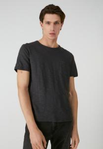 T-shirt avec poche gris chiné foncé en coton bio - paaul pocket - Armedangels