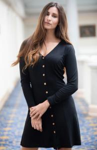 Robe camélia noire - Avani