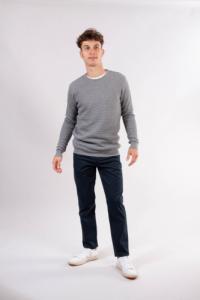 Pull gris en coton bio - field - Knowledge Cotton Apparel