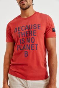 T-shirt orange imprimé gris en coton bio - natal classic because - Ecoalf