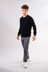 Pull bleu nuit en laine bio - field - Knowledge Cotton Apparel