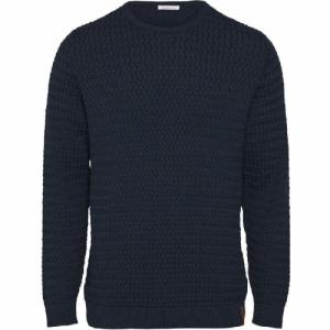 Pull col rond bleu nuit en coton bio - field - Knowledge Cotton Apparel