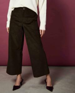 Pantalon ample 7/8 marron en coton bio - como - Jan'n June