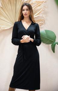 Robe nénuphar noire (longue) - Avani