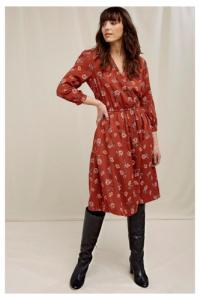 Robe rouge fleurie en tencel - becky - People Tree