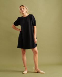 Robe courte noire en coton bio - floreta - Thinking Mu
