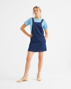 Robe salopette bleue en chanvre et coton bio - campanilla - Thinking Mu