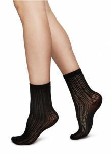 Chaussettes hautes noires à motifs en polyamide recyclé - klara - Swedish Stockings