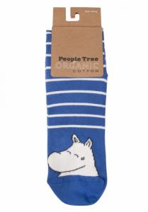 Chaussettes bleues rayées en coton bio - moomin - People Tree
