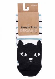 Chaussettes rayées motif chat en coton bio - People Tree