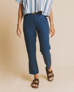 Pantalon bleu canard en chanvre, coton bio et tencel - dafne - Thinking Mu