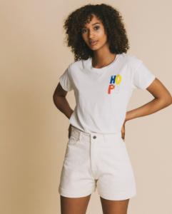 T-shirt imprimé blanc en coton bio - hope - Thinking Mu