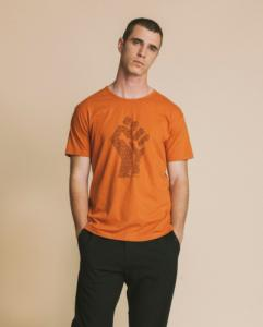 T-shirt imprimé terracotta en coton bio - human rights - Thinking Mu