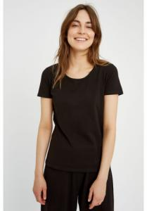 T-shirt col rond noir en coton bio - gaia - People Tree