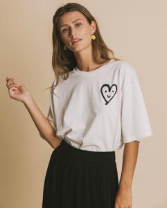 T-shirt imprimé blanc en coton bio - cute heart - Thinking Mu