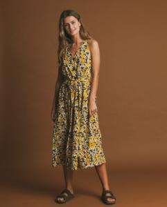Robe longue jaune motifs fleurs en coton bio - abstract flowers - Thinking Mu