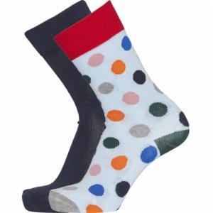 Pack 2 paires de chaussettes à pois et bleu nuit en coton bio - timber - Knowledge Cotton Apparel