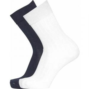 Pack 2 paires de chaussettes blanc et noir en coton bio - timber - Knowledge Cotton Apparel