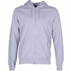 Sweat à capuche zippé gris en coton bio - heather grey - Colorful Standard