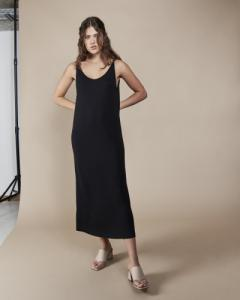 Robe longue noire en tencel - triangle midi - Jan'n June
