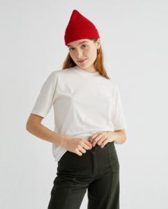 T-shirt blanc en coton bio - mock - Thinking Mu