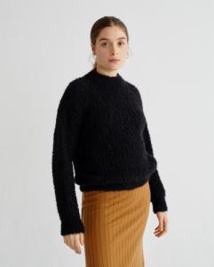 Pull à col cheminée noir en laine d'alpaga et pet recyclé - cotys - Thinking Mu