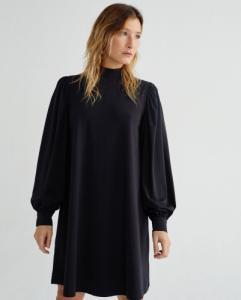 Robe manches bouffantes noire en coton bio - flora - Thinking Mu